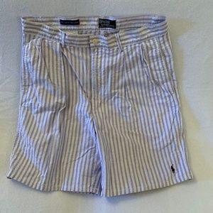 Polo Purple Striped Shorts 32 Waist 100% Cotton